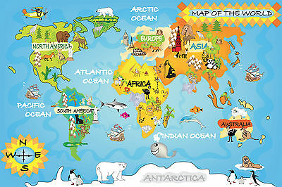 World Map For Kids Educational Bedroom Large Maxi Poster Art Print 91x61 cm