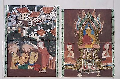 Set Antique Thailand Manuscript Painting from the 19th Century on book  a05