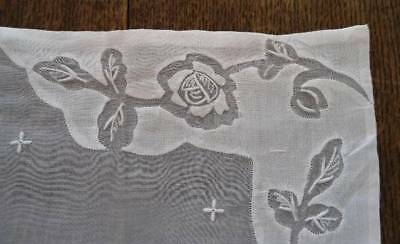 Vintage Madeira Linen Organdy Placemat Table Runner Set Embroidered Roses