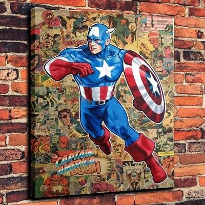Marvel Captain America Picture Art Print on Canvas Home Decor 16X20 Oil Painting