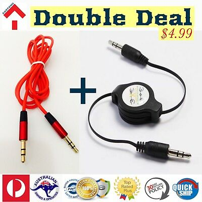 AUX 3.5mm Retractable Cable & Red 1.2M Stereo Audio Male to Male Auxiliary Cord