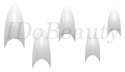 100 White Salon Stiletto False Nail Tips Acrylic Point Nails Tip 10 Sizes