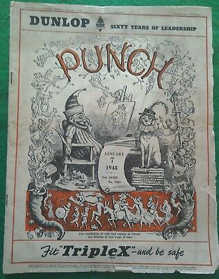 VINTAGE 'PUNCH' MAGAZINE - JANUARY 7th 1948 - VOL No 5585 DUNLOP TYRES