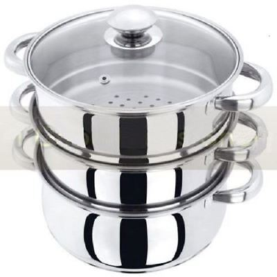 New 3pc 22cm Stainless Steel Steamer Cooker Pot Set Glass Lids 3 Tier Pan Cook