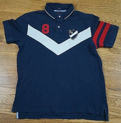 Rare Vintage TOMMY HILFIGER Rugby Polo Collared Red White Blue Custom Fit Large