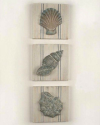 Coastal Art 3 Pc Hand Carved Wood Washed Beadboard Shell Design Panel Set