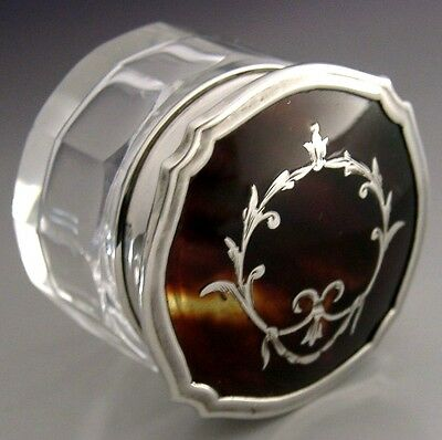 Beautiful English Sterling Silver And Glass Trinket Pot Box 1928 Antique