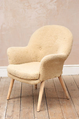 Vintage Retro Mid Century 60s Wool Cocktail Tub Chair
