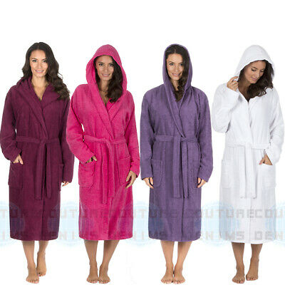 Ladies Hooded Towelling Bath Spa Robe 100% Cotton Terry Cloth Dressing Hood  Gown 76542fdd5