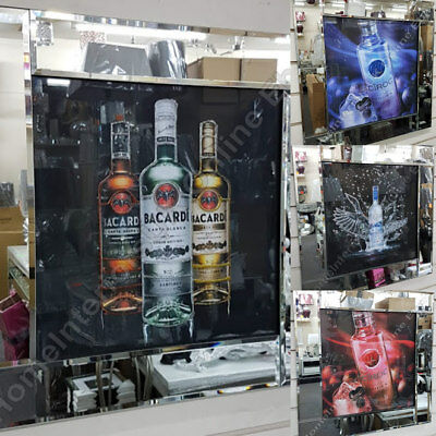 RED OR BLUE Vodka alcohol bottles with liquid art & mirror frames
