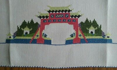 "Vintage 28"" Linen Towel ~ Hand Embroidered Tiny Petit Point ~ Oriental Pagoda"