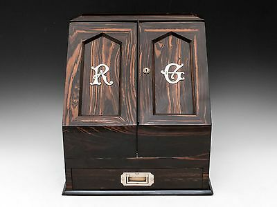 Antique Coromandel & Satinwood Stationery Letter Cabinet Box 19th century