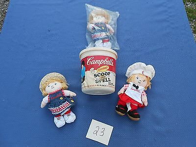 Vintage Lot of Campbells Soup Items Scoop & Spell Game And  Dolls
