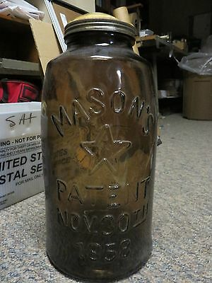 vtg. giant sized treats fruit pops mason's patent 1858 11-lb glass jar with lid