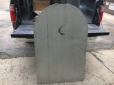 """c1900 single moon cut out solid wood arched top shutter screen panel 52.5 x 33"""""""