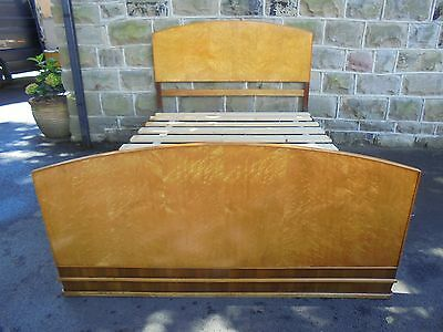 Art Deco Birds Eye Maple Double Bed Frame