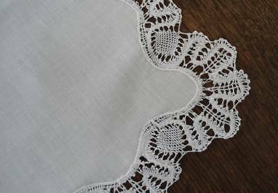 True Vintage Ivory Linen Bobbin Lace Placemats Set of 8 Large Hand Made Heirloom
