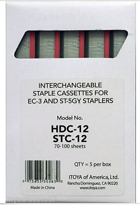 Box of 5 Itoya RED HDC-12 Etona Heavy-Duty Staple Cassette EC-3 STC-12