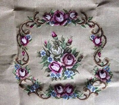 FLORAL Pre Worked Needlepoint Tapestry SEAT CUSHION COTTON CANVAS