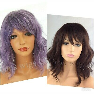 Dark Auburn Brown, Light Silver Grey Ladies Womens Wavy Shoulder Length Bob Wig