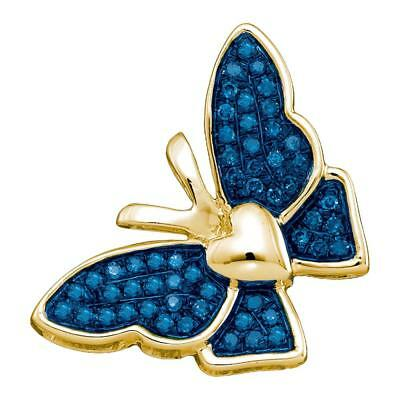 10k Yellow Gold Round Blue Color Enhanced Diamond Butterfly Bug Pendant 1/6