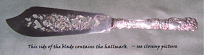 Nils Johan (Sweden) Pastry Knife -  silver plate with flowers and scrolls