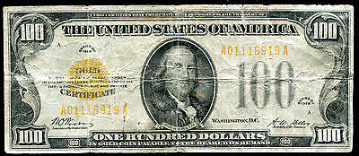 Fr. 2405 1928 $100 One Hundred Dollars Gold Certificate Very Fine