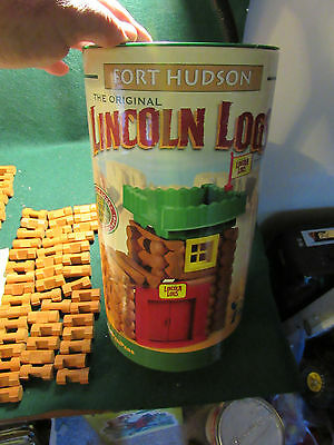 LINCOLN LOGS Fort Hudson Wooden Building Set COMPLETE 70 pieces