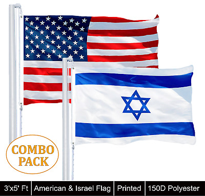 3'x5' USA America Flag 150D Polyester & 3'x5' Israel Flag 150D Polyester