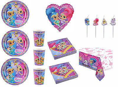 KIT SHIMMER and SHINE COMPLEANNO PARTY FESTA PIATTI PALLONE SET CANDELE 24 PERS.