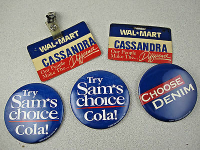 Vtg LOT WALMART Employee Name Tag & Sams Choice Cola/Choose Denim Pinback Button