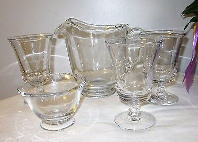 Fostoria Century lot 3 goblets pitcher mayonnaise bowl footed clean clear glass
