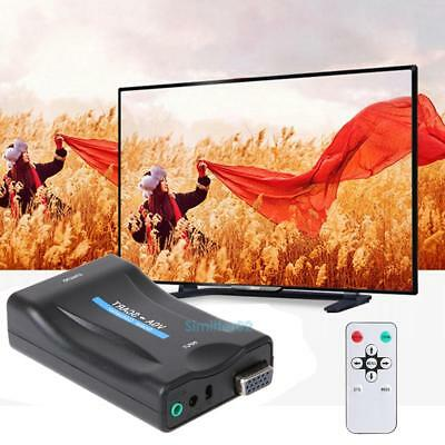 VGA to Scart Converter Video Converter Audio Upscale interface TV system Remote