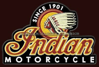 "XL INDIAN MOTORCYCLE EMBROIDERED BACK PATCH ~10-3/4"" x 7-1/4"" CHIEF SCOUT BIKER"