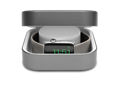 Amber Apple Watch Charging Dock with Built-in Battery - Space Gray