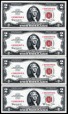 (4) Consecutive 1963-A $2 *star* Legal Tender United States Notes Gem