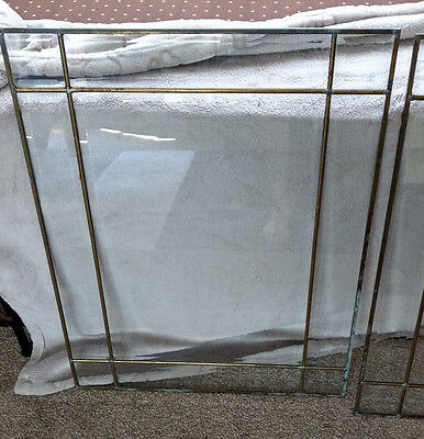 One Pair (2) Leaded Glass Bevelled Window Panels