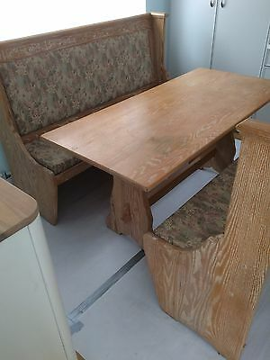 Refectory table with settles by Webber Furniture.