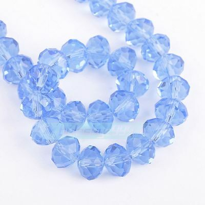 Lovely 100pcs 4x6mm Crystal glass Loose Beads-lightblue AB FREE SHIPPING