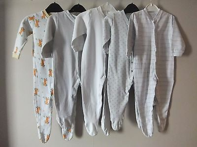 Pack 5 Boy's Sleep Suits 6-9 Month