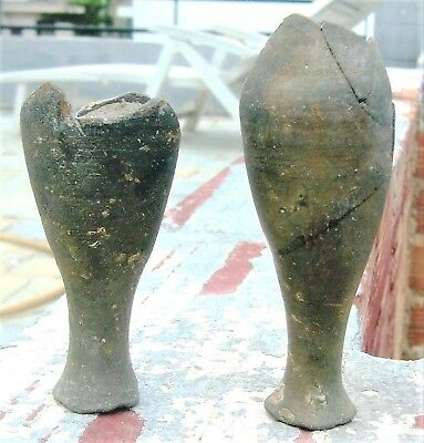 AUTHENTIC ANCIENT GREEK ATTIC 2 SPINDLE BOTTLES INTACT BOTTOM FRAGMENTS 4th C BC