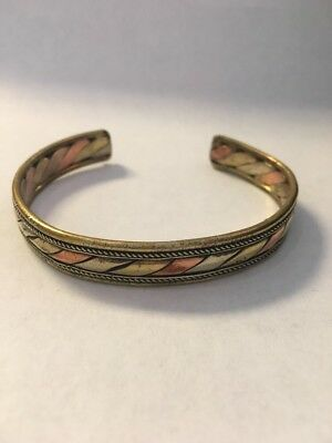Retro Brass Bracelet Copper Bangle Adjustable Cuff Fairtrade Handmade Nepal B20