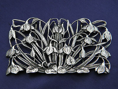 BEAUTIFUL SOLID SILVER SNOWDROP BELT BUCKLE J A CAMPBELL Hallmarked London 1982