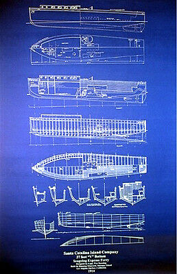 """Vintage Catalina Island California 1914 Ferry Boat Plan Drawing 24"""" x 35"""" (033)"""
