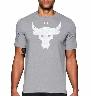 Under Armour Project Rock Brahma Bull T-Shirt All size Gray White Compression