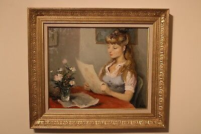 Marcel Dyf French 1965 Oil On Canvas Painting Of Claudine Dyf