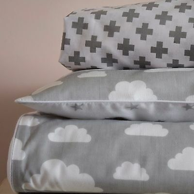 COTTON Cot Bed Duvet Cover Set Fitted Sheet Grey Stars Clouds nursery reversible