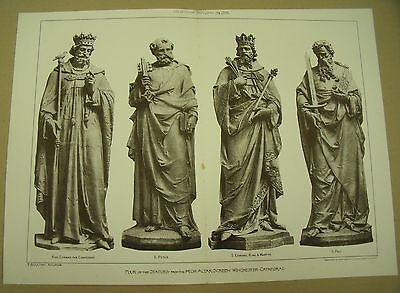 WINCHESTER CATHEDRAL STATUES 19th Century Antique Architecture Sculpture 1891*