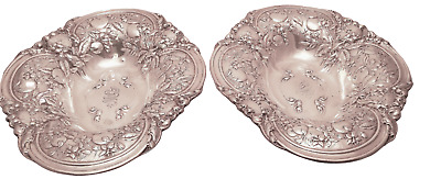 Gorham Sterling Pair of Floral Centerpieces / Fruitbowls / Breadbowls 1915