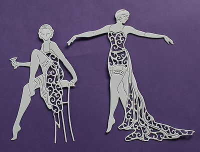 5 Tattered Lace Art Deco /'Cabaret Girl Collection/' die-cuts on plain white card